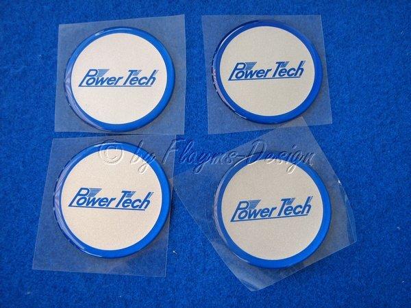 Felgen Mittenembleme Selbstklebend Power Tech blau (2) Aufkleber für Nabendeckel und Felgendeckel