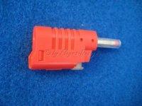 Sicherheits-Laborstecker 4mm Banane rot mit Schutzhülse