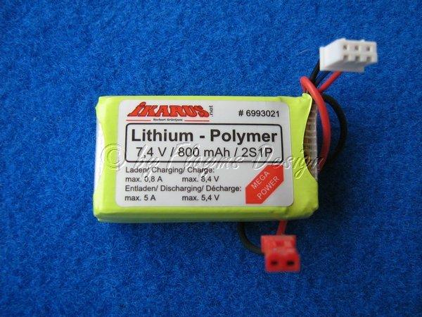 LiPo Akku 7,4V 800mAh 2S1P Lama mit Bal Anschl. Ersatz J030439