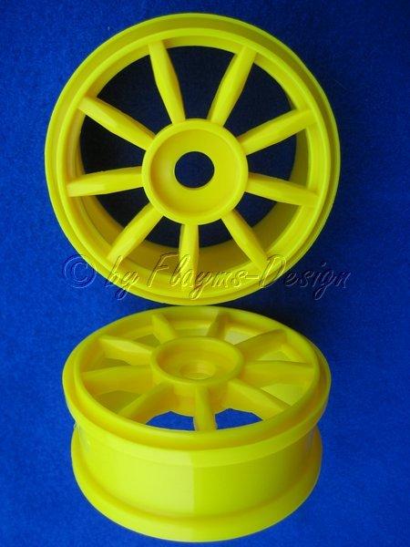 Felgen für 1:8 Buggy gelb 9 Speichen