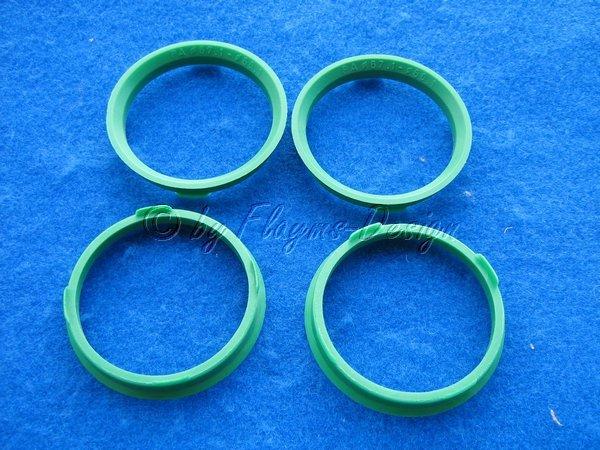 Zentrierringe (4) D 67,1-60,1mm FZ79 grün oder schwarz für Alufelgen