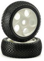 Buggy Räder 1/8 weiß mit Mini Stollen Reifen...