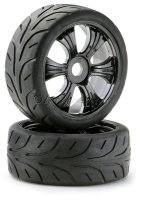 Buggy Räder LP 1/8 Street Black mit Profil Reifen (2)