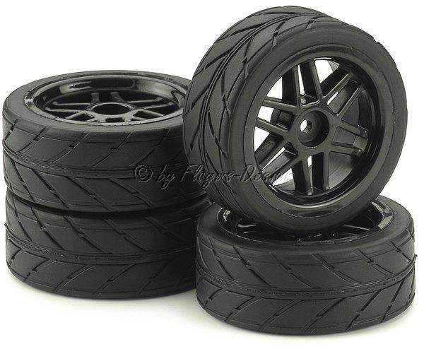 Räder Set 6 doppel Speichen Design m. Profil Reifen schwarz (4)