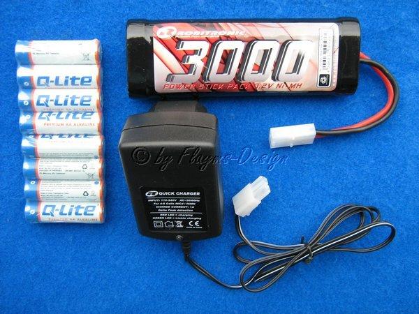 Elektro Starter Kit  Quick Carger DeltaPeak, 7,2V Stickpack 3000mah, 8 Senderbatterie AA