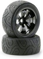 Truggy Räder LPR 1:8 Street Black mit Profil Reifen (2)