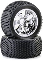Truggy Räder  1/8 LPR mit Noppen Reifen (2) chrome/dirty *Restposten