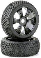 Buggy Räder LP 1/8 black mit Off Road Reifen (2)