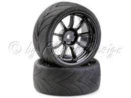 Drift Räder Set 9 Speichen Design mit Profil Reifen schwarz (4)